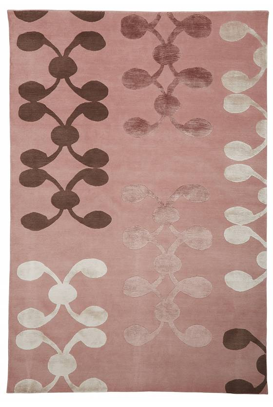 Judy Ross Hand-Knotted Custom Wool Celine Rug berry/smoke silk/berry silk/cream