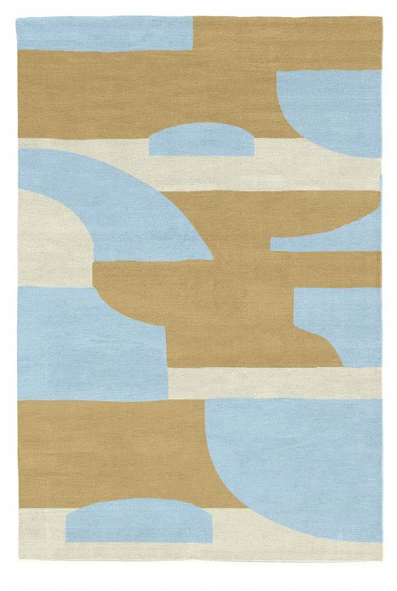 Judy Ross Hand-Knotted Custom Wool Composition Rug wheat/sand silk/oyster