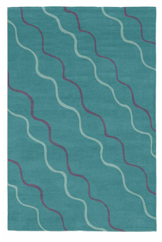 Judy Ross Hand-Knotted Custom Wool Parade Rug azure/spearmint/aubergine