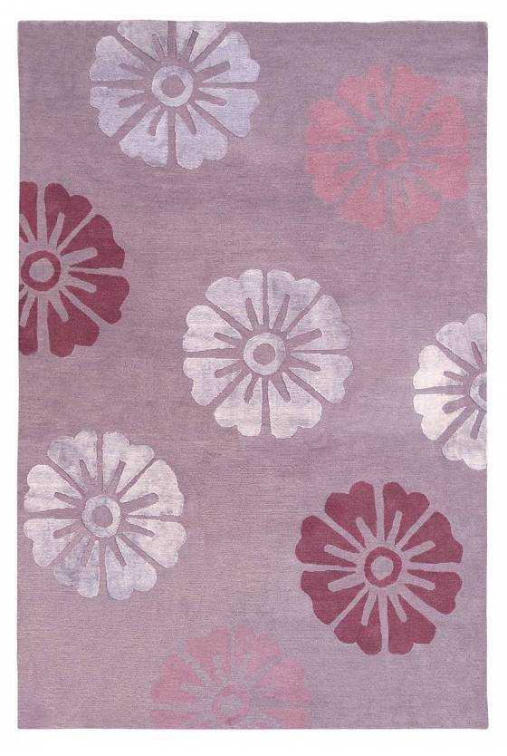 Judy Ross Hand-Knotted Custom Wool Rosette Rug pewter/midnight/parchment/marine