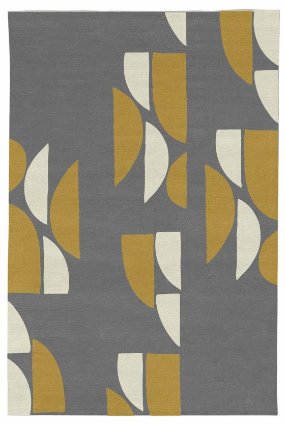 Judy Ross Hand-Knotted Custom Wool Slice Rug celadon/cream/black