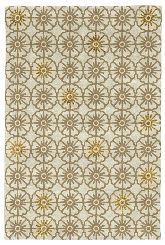 Judy Ross Hand-Knotted Custom Wool Small Pinwheels Rug pewter/parchment/yellow