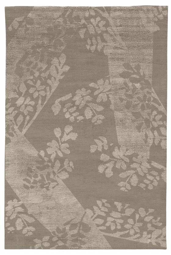 Judy Ross Hand-Knotted Custom Wool Stencil Rug midnight/smoke/parchment