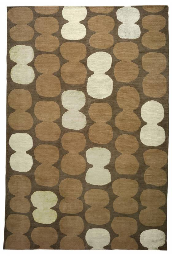 Judy Ross Hand-Knotted Custom Wool Tabla Rug oyster/parchment/marine/midnight